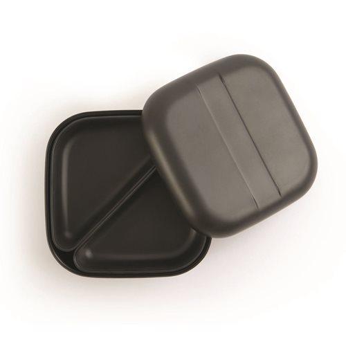 Ekobo GO Bento Lunchbox Bambusfaser Quadratisch - 15x15x6.5 cm - Schwarz