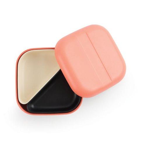 Ekobo GO Bento Lunchbox Bambusfaser Quadratisch - 15x15x6.5 cm - Koralle