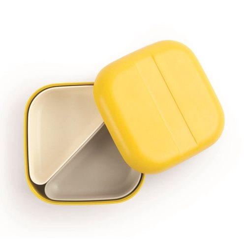 Ekobo GO Bento Lunchbox Bamboo Fiber Square - 15x15x6.5 cm - Lemon