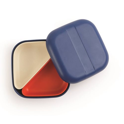 Ekobo GO Bento Lunchbox Bambusfaser Quadratisch - 15x15x6.5 cm - Royal Blue