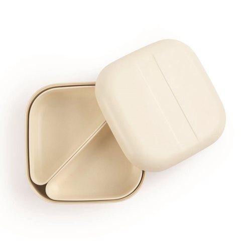 Ekobo GO Bento Lunchbox Bambusfaser Quadratisch - 15x15x6.5 cm - Weiß