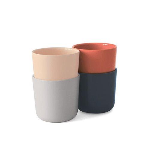 Ekobo Bambino 4-Piece Drinking Cup Set Bamboo Fiber SCANDI - 8x8x7.5 cm - 250 ml