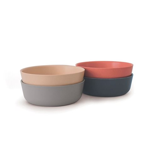 Ekobo Bambino 4-Piece Bowl Set Bamboo Fiber SCANDI - 15x15x5 cm - 500 ml