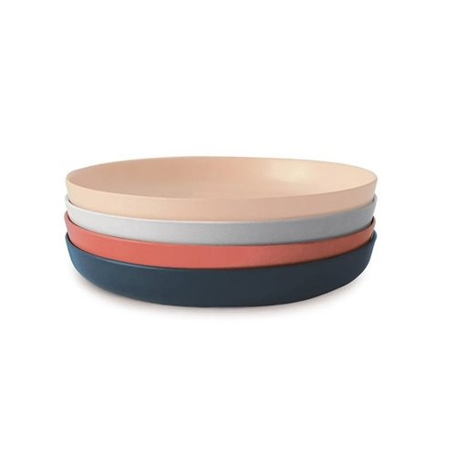 Ekobo Bambino 4-Piece Small Plate Set Bamboo Fiber SCANDI- 18x18x2.5 cm
