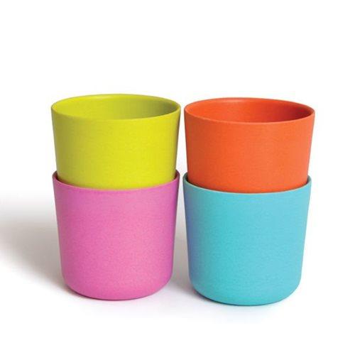 Ekobo Bambino 4-Piece Drinking Cup Set Bamboo Fiber POP - 8x8x7.5 cm - 250 ml