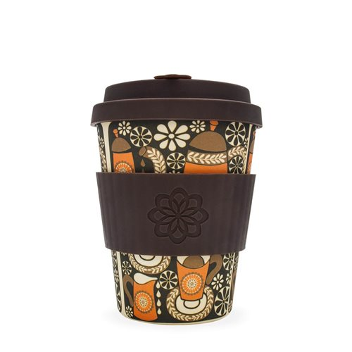 Ecoffee Cup Morning Coffee - Bamboe Beker  - 350 ml - Project Waterfall - met Donkerbruin Siliconen