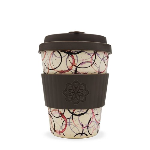 Ecoffee Cup Tail of a Lifetime - Bamboo Cup - 350 ml - Project Waterfall - with Dark Brown Silicone