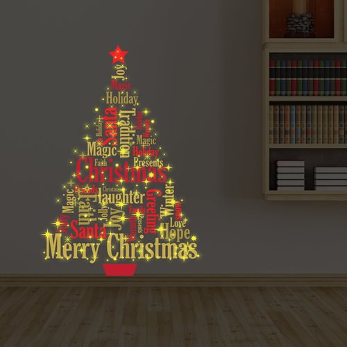 Walplus Glow in the Dark Decoratie Sticker - Kerstboom met Engelse Quotes