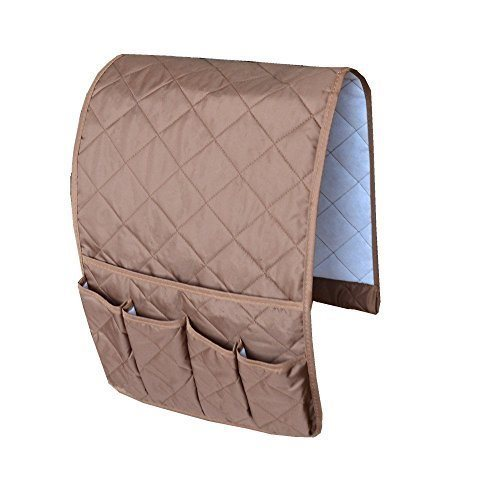 United Entertainment - Non-Slip Couch Sofa Chair Armrest Organizer with 5 Pockets - 89x32 cm - Beige
