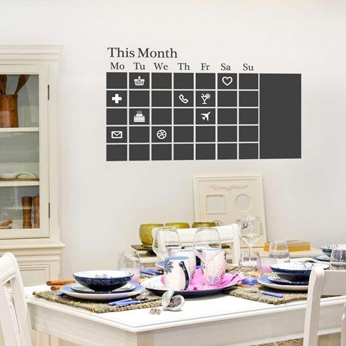 Walplus Chalkboard Decoration Sticker - Black Calendar