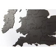 MiMi Innovations Luxury Wooden Country Map - Wall Decoration - United Kingdom and Republic of Ireland - 106x61 cm/41.7x24 inch - Black