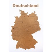 MiMi Innovations Luxury Wooden Country Map - Wall Decoration - Deutschland - 102x66 cm/40.2x26 inch - Brown