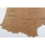 MiMi Innovations Luxury Wooden Country Map - Wall Decoration - France - 85x70 cm/33.5x27.6 inch - Brown