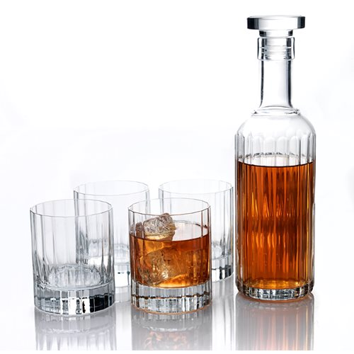 Luigi Bormioli Bach - Whisky Set with Carafe 70 cl / 23.75 oz and 4 Whisky glasses 33.5 cl / 11.25 oz