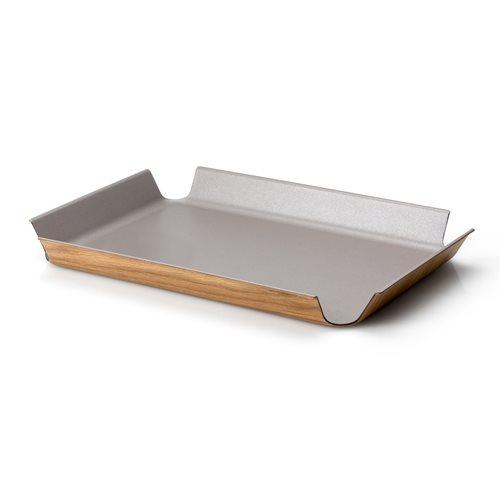 Continenta Tablett mit Rutschfeste Oberflächenbeschichtung - 45x34cm - Taupe Metallic