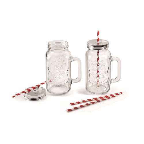 Lacor Mix & Go - Set van 2 Glazen bekers voor Individuele Blender - 500 ml