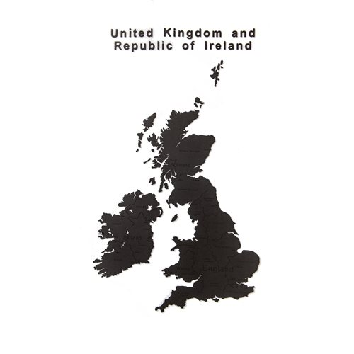 MiMi Innovations Luxury Holz Landkarte - Wanddekoration - United Kingdom and Republic of Ireland - 106x61 cm/41.7x24 Inch - Schwarz