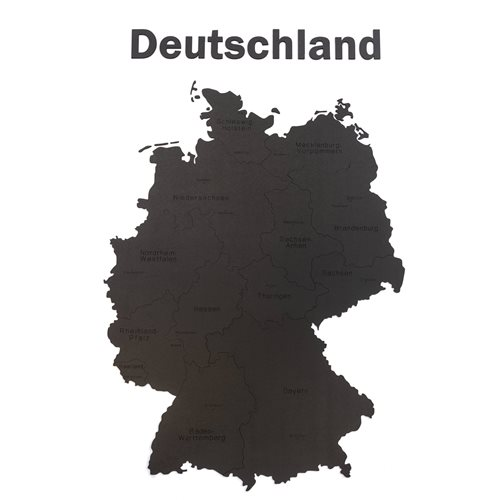MiMi Innovations Luxe Houten Landkaart - Muurdecoratie - Deutschland - 102x66 cm/40.2x26 inch - Zwart
