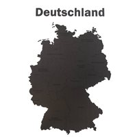 MiMi Innovations Luxury Wooden Country Map - Wall Decoration - Deutschland - 102x66 cm/40.2x26 inch - Black