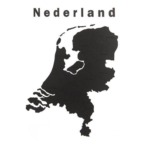 MiMi Innovations Luxe Houten Landkaart - Muurdecoratie - Nederland - 92x69 cm/36.2x27.2 inch - Zwart