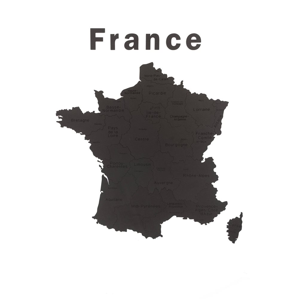 MiMi Innovations Luxury Wooden Country Map - Wall Decoration - France - 85x70 cm/33.5x27.6 inch - Black