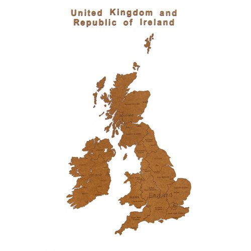 MiMi Innovations Luxury Wooden Country Map - Wall Decoration - United Kingdom and Republic of Ireland - 106x61 cm/41.7x24 inch - Brown