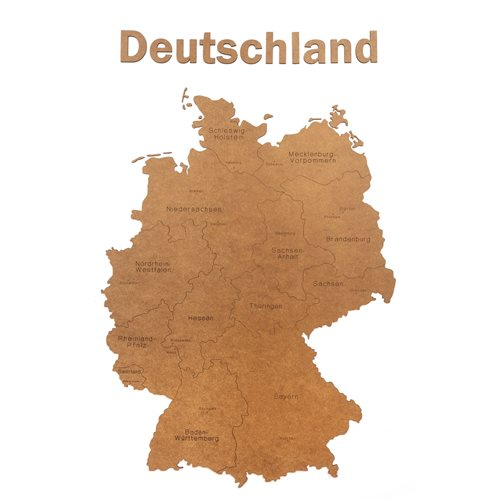 MiMi Innovations Luxe Houten Landkaart - Muurdecoratie - Deutschland - 102x66 cm/40.2x26 inch - Bruin