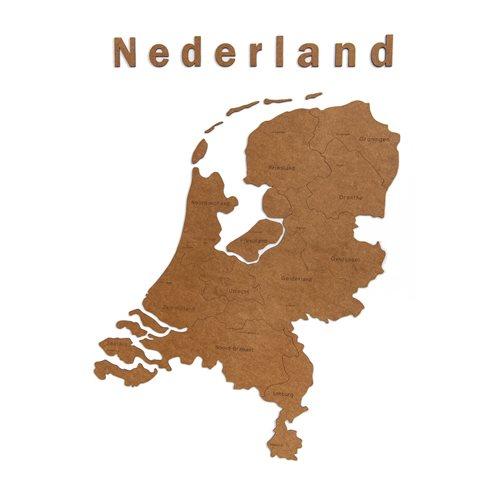 MiMi Innovations Luxe Houten Landkaart - Muurdecoratie - Nederland -  92x69 cm/36.2x27.2 inch - Bruin