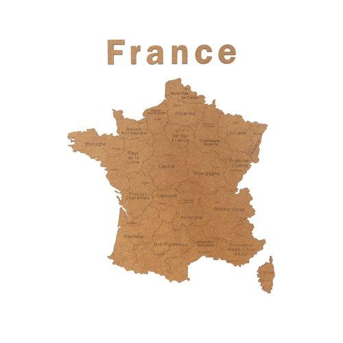 MiMi Innovations Luxe Houten Landkaart - Muurdecoratie - France - 85x70 cm/33.5x27.6 inch - Bruin