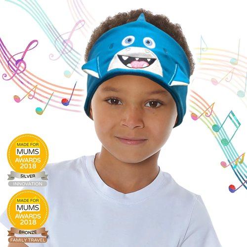 Snuggly Rascals v.2 - Über-Ohr-Kopfhörer für Kinder - Hai Blau - Baumwolle
