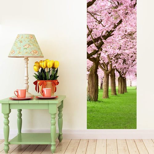 Walplus Door Decoration Sticker - Pink Blossom Flowers Tree