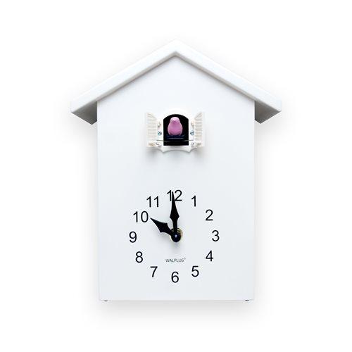Walplus Minimalist Cuckoo Clock - Wall Clock - White with White Window