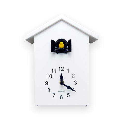 Walplus Minimalistische Cuckoo Klok - Wandklok - Wit met Zwart Raamframe