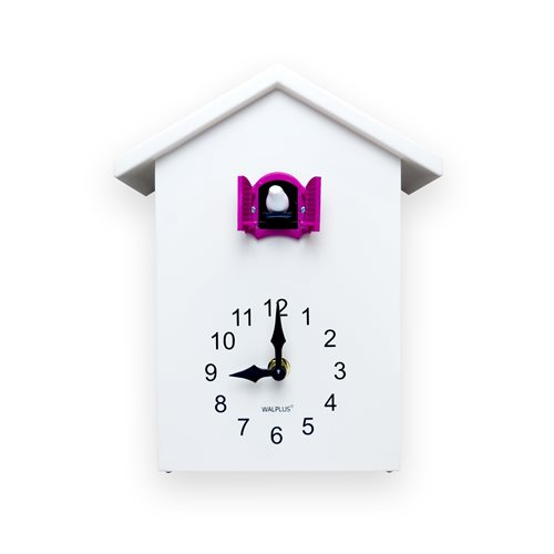 Walplus Minimalist Cuckoo Clock - Wall Clock - White with Pink Window