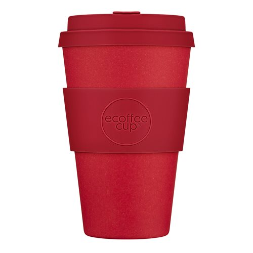 Ecoffee Cup Red Dawn - Bamboo Cup - 400 ml - with Red Silicone