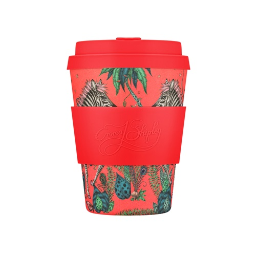 Ecoffee Cup Lost World - Bamboo Cup - 350 ml - Emma Shipley - with Red Silicone