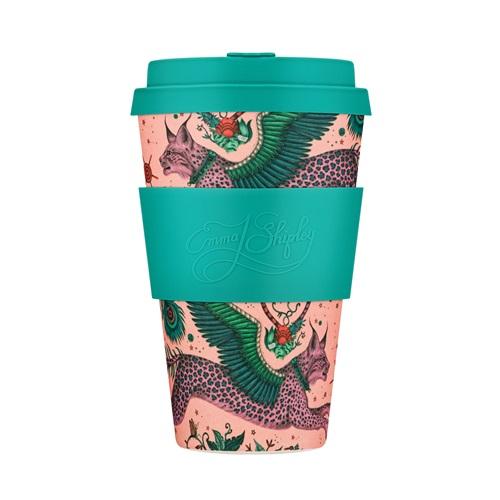 Ecoffee Cup Lynx - Bamboe Beker  - 400 ml - Emma Shipley - met Turquoise Siliconen