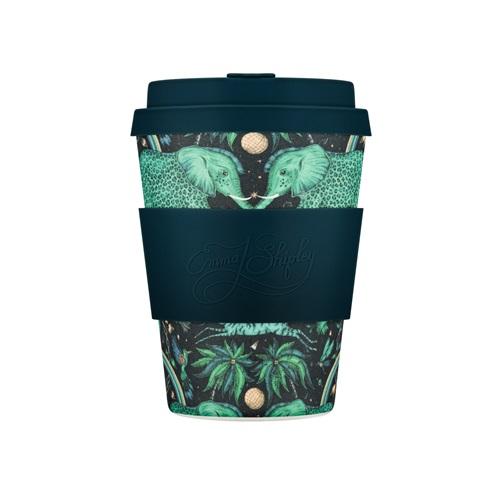 Ecoffee Cup Zambezi - Bamboe Beker  - 350 ml - Emma Shipley - met Donkerblauw Siliconen