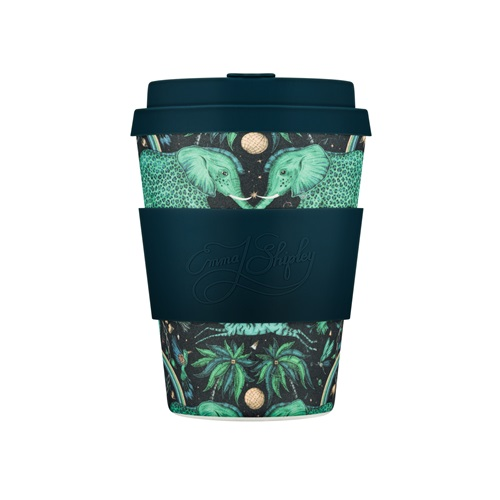 Ecoffee Cup Zambezi - Bamboo Cup - 350 ml - Emma Shipley - with Dark Blue Silicone