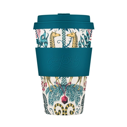 Ecoffee Cup Kruger - Bamboo Cup - 400 ml - Emma Shipley - with Blue Silicone