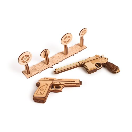 Wood Trick Wooden Model Kit - Set of Guns with Shooting Range