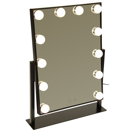 United Entertainment Makeup Mirror with LED Lighting - Hollywood style - With three light modes - Black