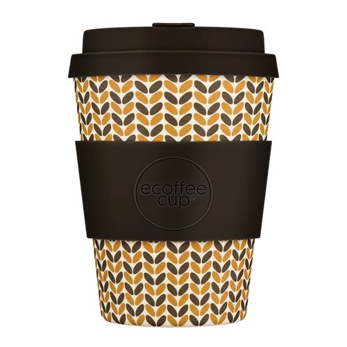 Ecoffee Cup Threadneedle - Bamboe Beker - 350 ml - met Donkerbruin Siliconen