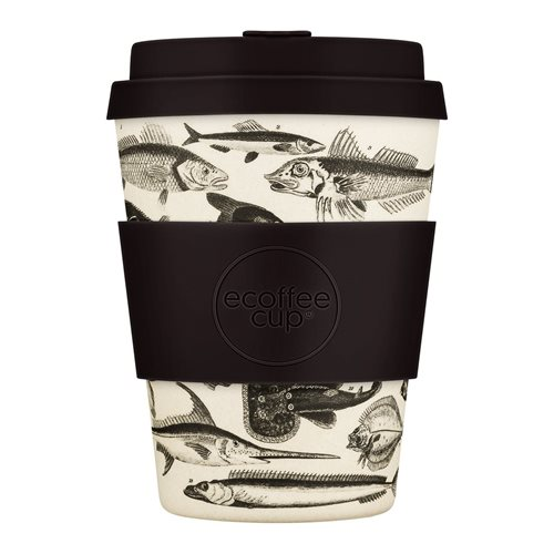 Ecoffee Cup Toolondo Fishman - Bamboo Cup - 350 ml - with Black Silicone