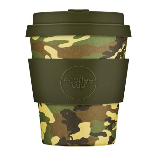 Ecoffee Cup Mike & Eric - Bamboo Cup - 250 ml - with Army Green Silicone