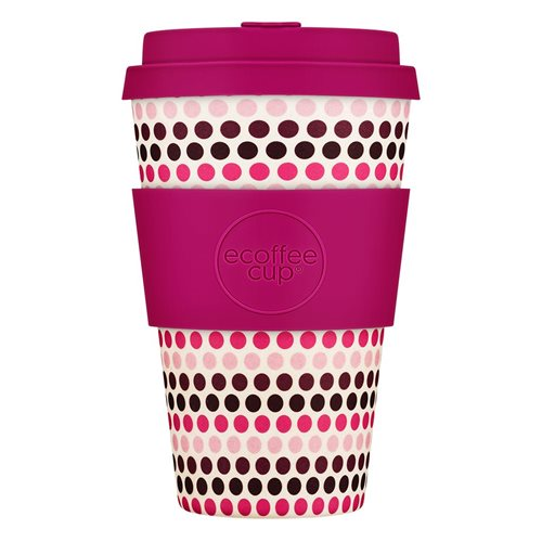 Ecoffee Cup Pink Polka - Bamboo Cup - 400 ml - with Pink Silicone