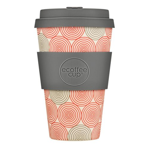 Ecoffee Cup Swirl - Bamboo Cup - 400 ml - with Grey Silicone