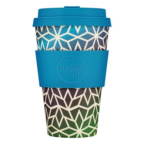 Ecoffee Cup Stargate - Bamboo Cup - 400 ml - with Blue Silicone