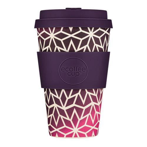 Ecoffee Cup Stargrape - Bamboo Cup - 400 ml - with Dark Purple Silicone