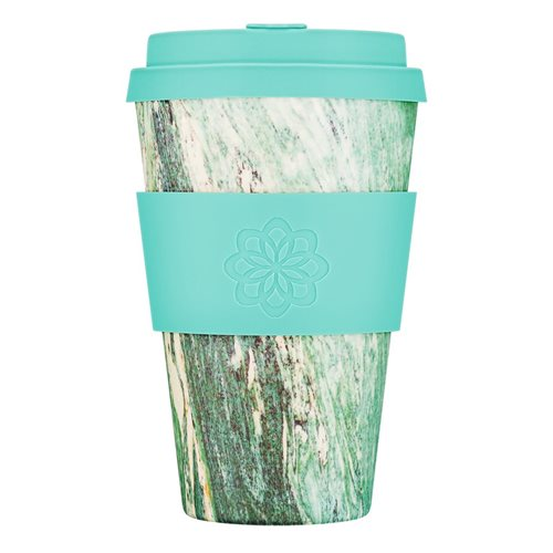 Ecoffee Cup Marmo Verde - Bamboo Cup - 400 ml - with Turquoise Silicone